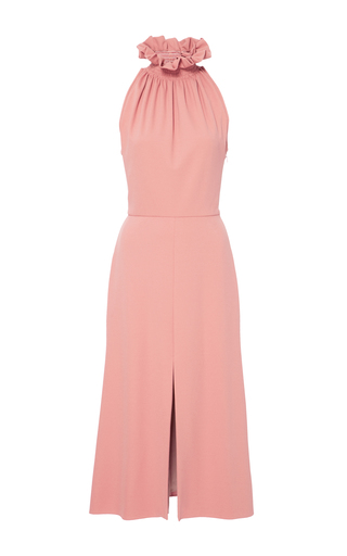 Medium christian siriano pink ruched neck sleeveless dress