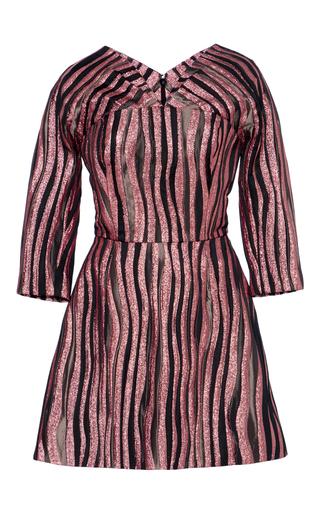 Medium christian siriano pink metallic long sleeve mini dress