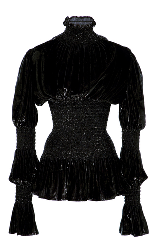 Medium christian siriano black lacquered velvet victorian sleeve blouse