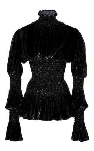 Medium christian siriano black lacquered velvet victorian sleeve blouse