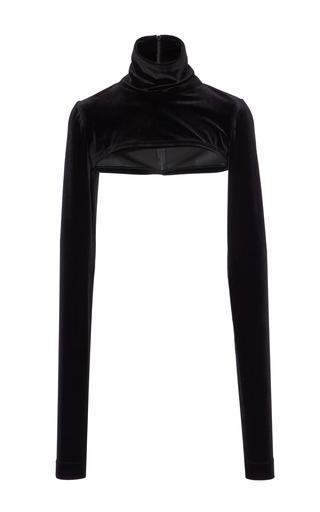 Medium christian siriano black velvet long sleeve shell top