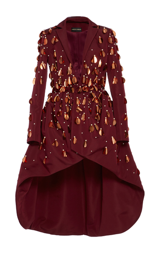 Medium christian siriano burgundy embellished evening coat