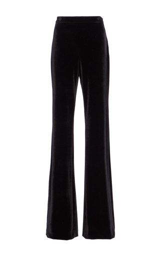 Medium christian siriano black velvet slim cut trousers