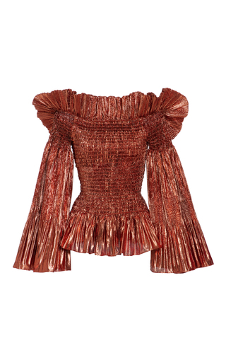 Medium christian siriano metallic metallic off the shoulder blouse