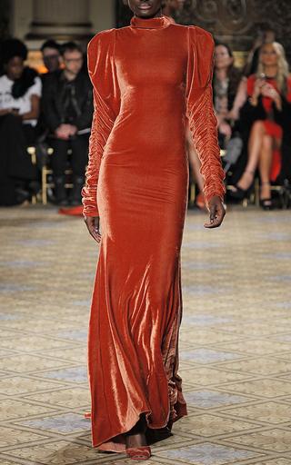 Medium christian siriano orange velvet long sleeve gown