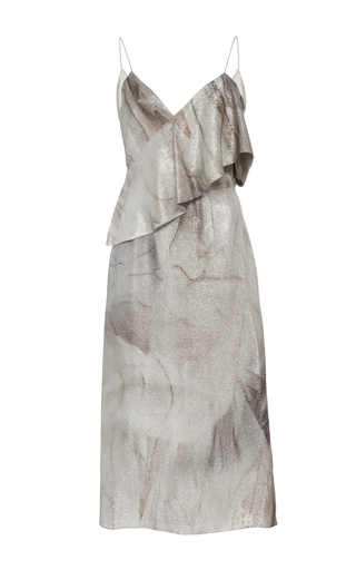 Medium christian siriano silver metallic asymmetrical flounce dress