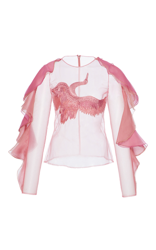 Medium christian siriano pink ruffled embroidered blouse