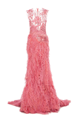 Medium christian siriano pink illusion embroidered gown