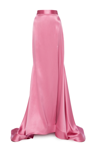 Medium christian siriano pink satin full length skirt