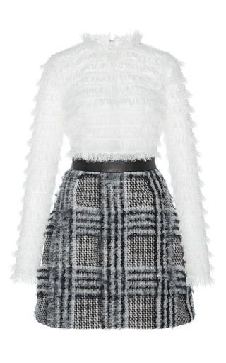 Medium zuhair murad black white ruffled long sleeve a line dress
