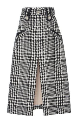 Medium zuhair murad black white tweed pencil skirt