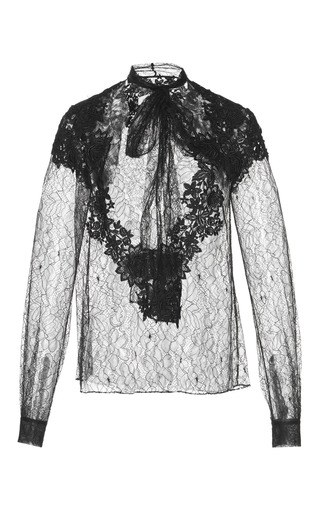 Medium zuhair murad black long sleeve chantilly lace blouse