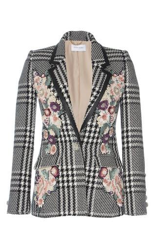 Medium zuhair murad black white tweed multicolor embroidered jacket