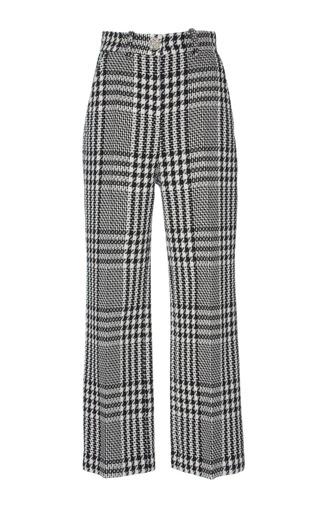 Medium zuhair murad black white tweed high waisted pants