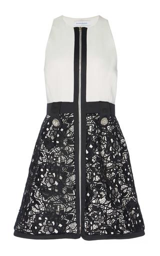 Medium zuhair murad black white sleeveless macrame mini dress