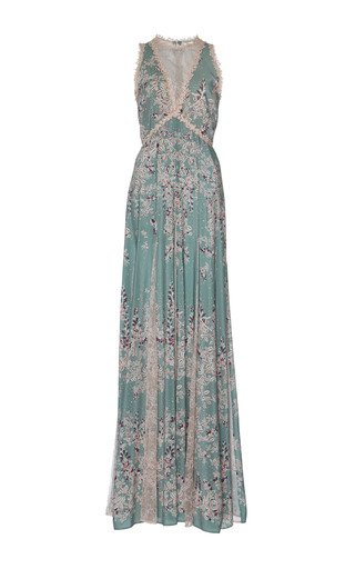 Medium zuhair murad print printed flared dress with lace godet and macrame details