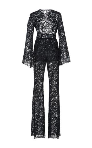 Medium zuhair murad black flared sleeve guipure jumpsuit
