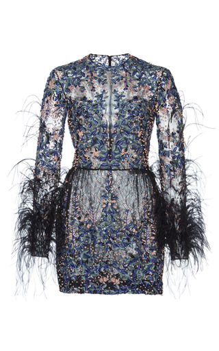 Medium zuhair murad blue bead and feather embroidered mini dress