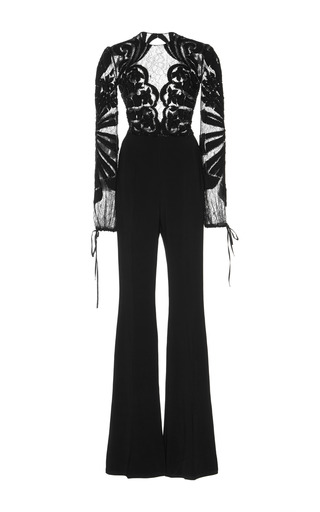 Medium zuhair murad black embroidered long sleeve jumpsuit