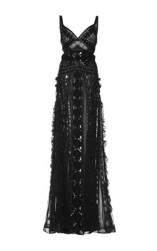 Medium zuhair murad black embroidered georgette gown