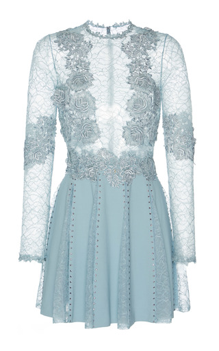 Medium zuhair murad blue chantilly and macrame dress