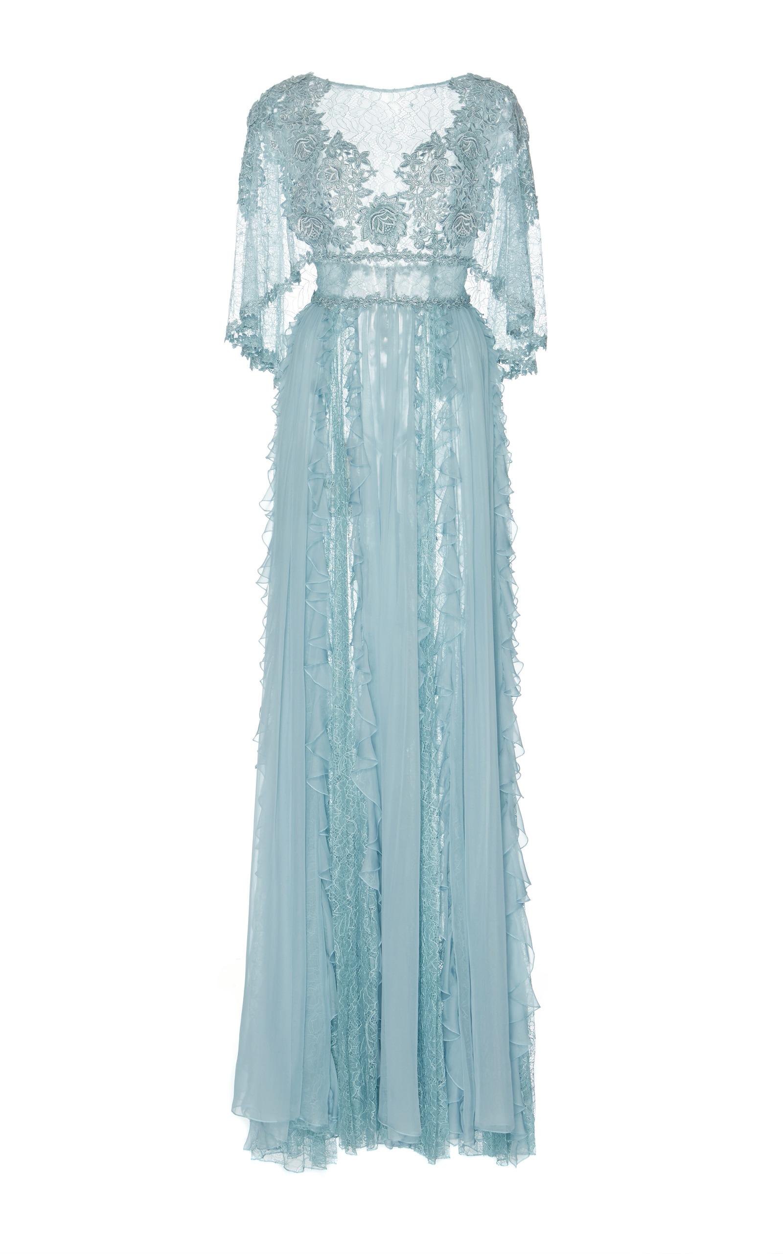 Blue Chiffon Dress Zuhair Murad – Fashion dresses