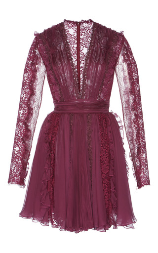 Medium zuhair murad purple chiffon and chantilly lace dress