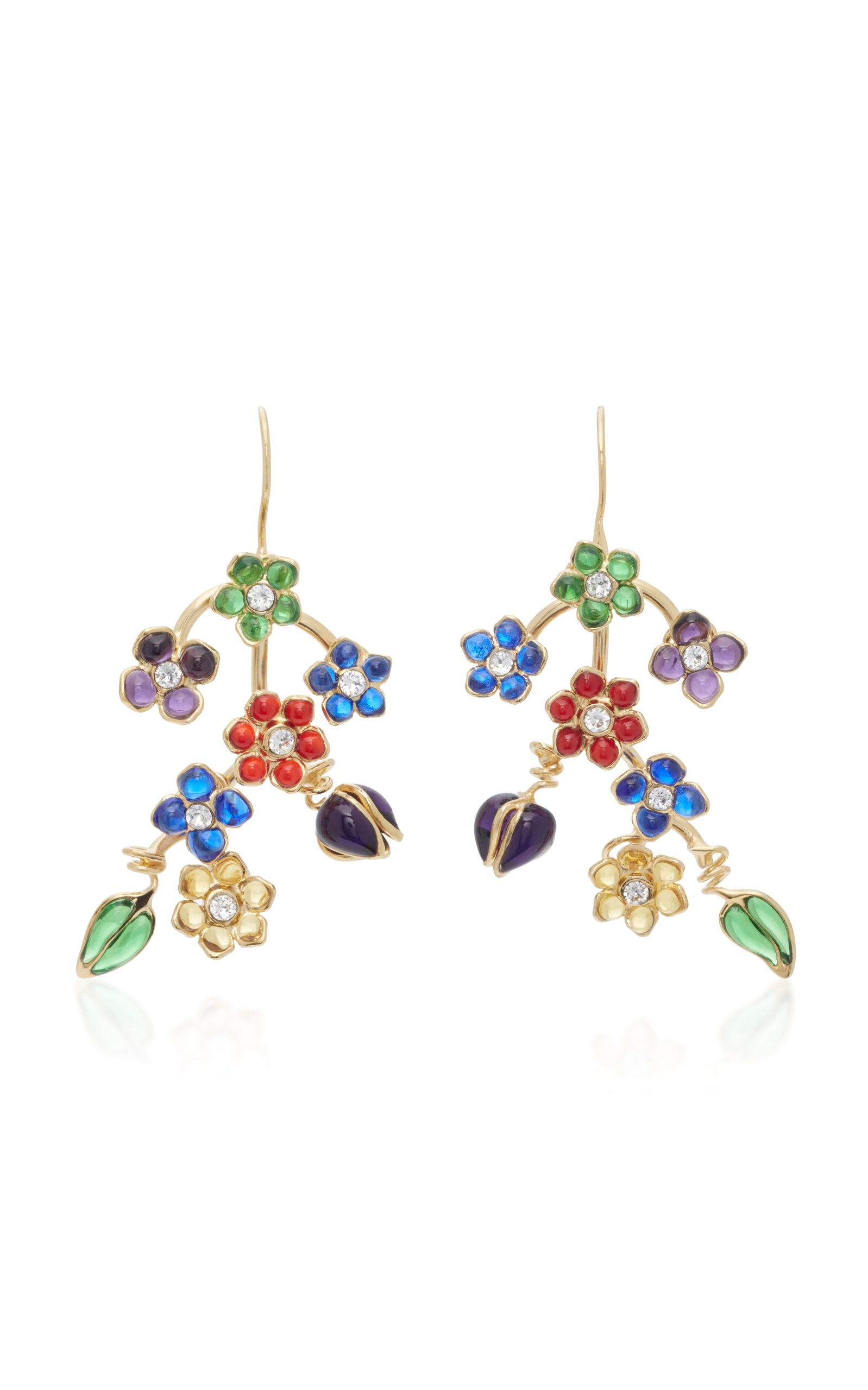 GRIPOIX GLAMOUR PIERCED 24K GOLD-PLATED GLASS AND CRYSTAL DROP EARRINGS