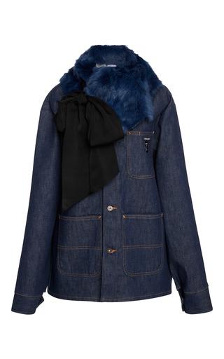 Medium cynthia rowley blue multi pocket jacket with fur collar