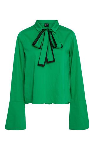 Medium cynthia rowley green cotton poplin bow top