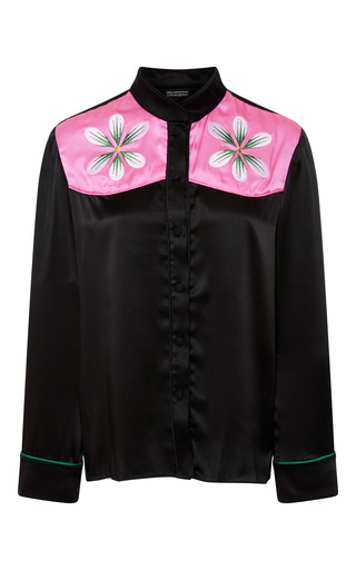Medium cynthia rowley black floral embroidered top