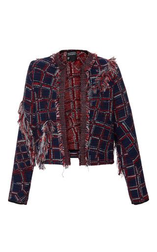 Medium cynthia rowley plaid fringe tweed jacket