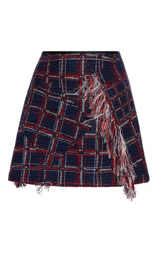 Medium cynthia rowley plaid fringe tweed mini skirt