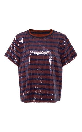 Medium cynthia rowley burgundy sequin striped t shirt