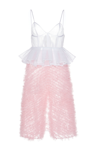 Medium giuseppe di morabito pink ruffled peplum tulle dress