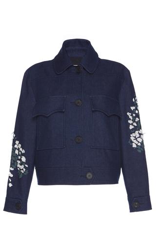 Medium giuseppe di morabito navy floral embroidered denim jacket