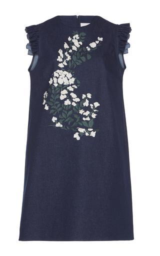 Medium giuseppe di morabito navy floral embroidered denim dress