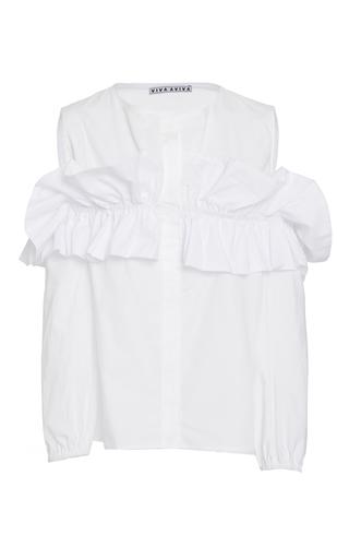 Medium viva aviva white cold shoulder button down