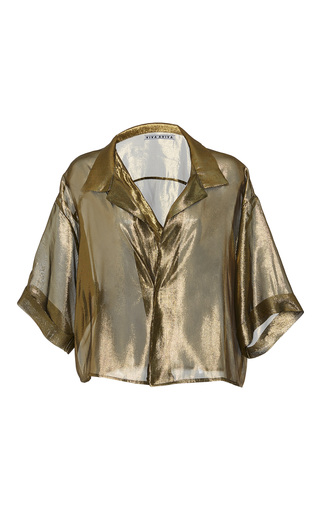 Medium viva aviva gold sheer lame bowling shirt