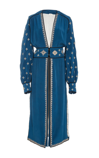 Medium talitha blue cross embroidered tabia robe