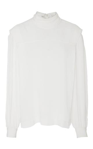 Medium whit white white silk ginko tie neck top
