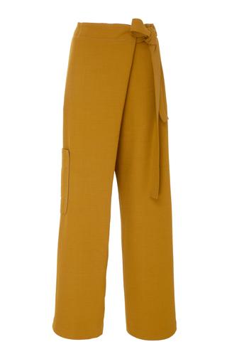 Medium whit yellow asymmetrical wrap pant