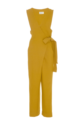 Medium whit yellow emi wrap wool jumpsuit