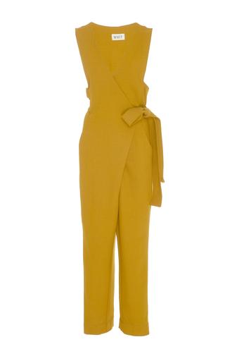 Medium whit yellow emi wrap wool jumpsuit