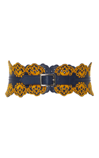 Medium tanya taylor yellow embroidered leather belt