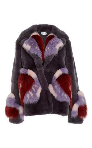 Medium tanya taylor multi fifi patch work fur coat