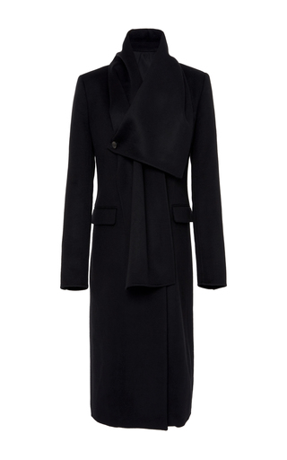 Medium summa black double breasted fitted tailored coat with detachable scarf