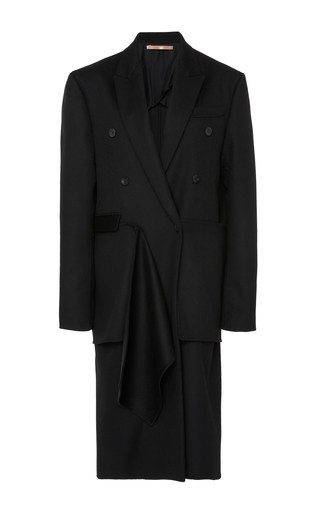 Medium summa black double breasted mens tailored coat with detachable scarf