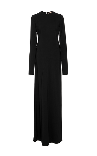Medium summa black crew neck long sleeve curved seam full length dress