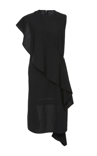 Medium summa black crew neck sleeveless dress with detachable ruffle